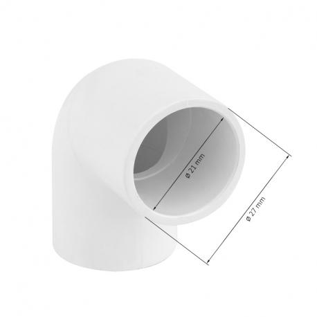 Koleno 90° k nalepení na hadici (Ø 20mm)