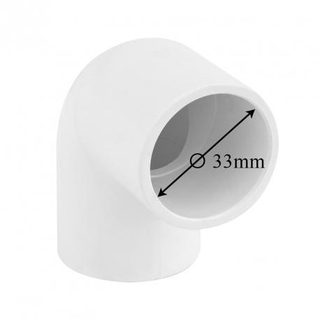 Koleno 90° k nalepení na hadici (Ø 33mm)