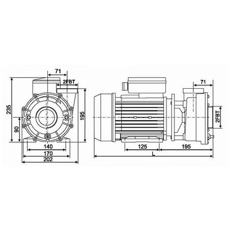 LX Vodní čerpadlo WP 1.85KW pro vířivky pro SPA - WP250 I - Napojení na přírubu 60mm