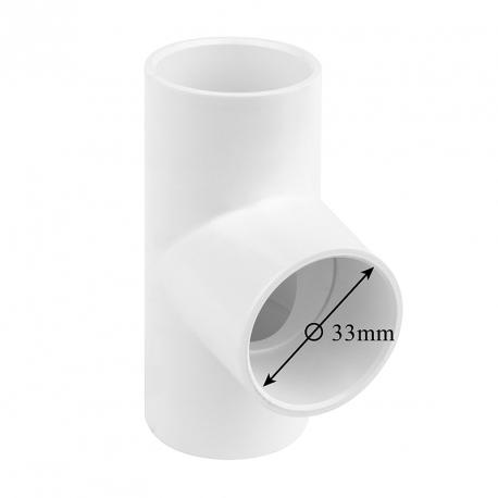 T – kus 90° k nalepení na hadici (Ø 33mm)