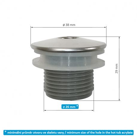 Masážní tryska NEREZ MINI krční – bodová 38 mm/ 1,75″ - SAMOSTATNÁ