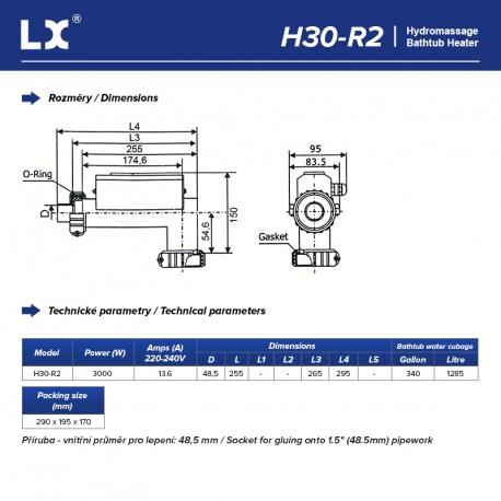LX Topení do vířivky H30-R2, 3kW - Připojení 48,5 mm (L-Shape)