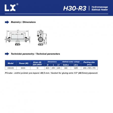 LX Topení do vířivky H30-R3, 3kW - Připojení 48,5 mm (T-Shape)