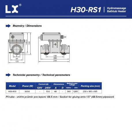 LX Topení do vířivky s termoregulací H30-RS1, 3kW - Připojení 48 mm